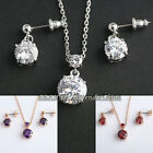 A1-S034 Fashion CZ Simulated Gemstone Earrings Necklace Jewelry Set Crystal