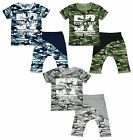 Boys Army Camo Young Team 57 T-Shirt & Drop Crotch Shorts Set 4 to 12 Years