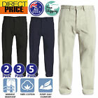 2 3 5 Packs Mens Chino Pants Cotton Smart Casual Formal Trousers Black Navy Sand