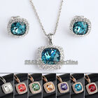 A1-S101 Fashion Simulated Gemstone Earrings Necklace Jewelry Set 18KGP Crystal