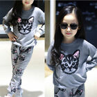 Kids Girl Children Spring Clothing Outfit Cat Printed Blouse Top Pant Sets Gray