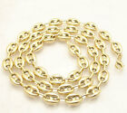 9mm Puffed Mariner Anchor Gucci Link Chain Necklace Real Solid 10K Yellow Gold