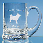 Norwegian Elkhound Dog Lover Gift Personalised Engraved Handmade Glass Tankard