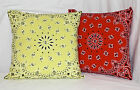 Bandana Throw Pillow Cover, U Choose Color 18in X 18in Case w/ Invisible Zipper