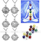 Reiki Healing 7pcs Chakra Crystal Stone Alloy Openable Locket Pendant Necklace