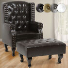 Faux Leather Chesterfield Armchair High Back Wing Chair With Footstool Furniture