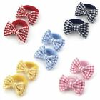 2 x Gingham Bow on Towelling Ponio/ Hair Elastic/ Bobble - School Colours 5.5 cm