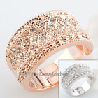 B1-R444 Fashion CZ Rhinestone Band Ring 18KGP Crystal Size 5.5-10