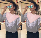 Fashion Women Ladies Lace Loose Casual Long Sleeve Tee Shirt Tops Blouse Hot