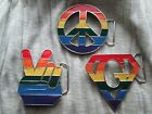 Gay Pride Rainbow Peace Sign,Peace Hand, Super Gay Belt Buckle - New