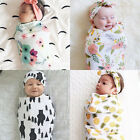 Newborn Baby Infant Swaddle Blanket Sleeping Swaddle Muslin Wrap+Headband US