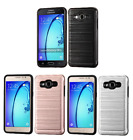 For Samsunge On5 Brushed Hybrid Armor Protector Case Cover w/Carbon Fiber Accent