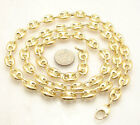 9mm Puffed Mariner Anchor Gucci Link Chain Necklace 14K Yellow Gold Clad Silver