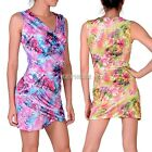 Women V Neck Pleated Bodycon Floral Party Cocktail Pencil Mini Dress+ G-string