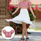 Charm Stripes Off-Shoulder Cropped Top Short Sleeve Evening Club Dress Ladies