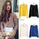 Women Sexy Long Sheer Sleeve Embroidery Lace Crochet Tee T-Shirt Top Blouse