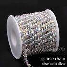 1/10yd ss6-ss38 Crystal Clear AB Rhinestones silver Chain Sewing Trims Applique