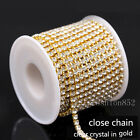 1/10yards ss6/8/10/12/16/18 Crystal Clear Rhinestones gold close cup Chain Trims