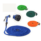 25 50 75 100 Feet Latex Garden Water Hose Expanding Flexible with Spray Nozzle