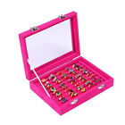 Velvet Glass Jewelry Ring Earring Display Organizer Box Holder Storage Show Case