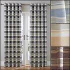 DENVER STRIPE LINED RING TOP/EYELET CURTAINS (PAIR) - CHOICE OF FOUR COLOURS