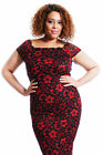 Womens Dress Ladies Plus Size Midi Bodycon Party Glitter Floral Lace Nouvelle