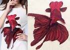 "1PCS Embroidered Red Goldfish Sew Appliques Wedding Dresses Design 13""X15"" WT53"