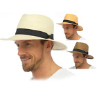 Men's Classic Straw Summer Hats with Contrasting Band Cowboy wide brim