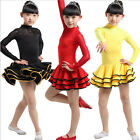 Red Childrens Latin dance costumes Girls Lace Long sleeve Ballroom dance Dress