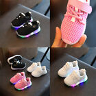 Kids Girls Boy Infants LED Lights Lace UP Breathable Casual Sneakers Shoes HOT