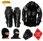 COMBO OF FOX RIDING GEAR BODY ARMOR RAPTOR KNEE GUARD,P-BIKER GLOVES & FACE MASK