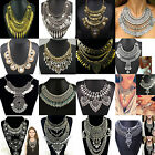 Women Vintage Coins Chain Pendant Statement Jewelry Choker Chunky Bib Necklace A