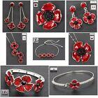 Equilibrium Silver Plated Poppy Earrings, Brooch, Necklace, Bracelet Or Pendant
