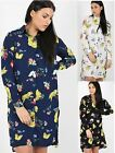 Ladies Womens Floral Print Oversized Long Cotton Shirt Collared Blouse Dress Top