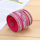 Wholesale 10Color Multilayer Women Crystal Leather Cuff Bangle Jrewelry Bracelet