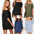 New Ladies Off Shoulder Mini Party Dress Casual Loose Short Sleeve Strapless Top