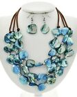 Ocean Beach Suede Sea Shell Mother of Pearl Triple Layered Necklace Earrings