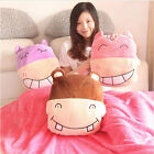 plush toy stuffed doll hippo coral velvet pillow cushion blanket animal gift 1pc