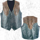 Mens Western Cowboy Style Black & Brown Leather Vest Lined Southwestern