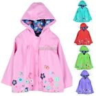 New Girls Kids Cute Print Hooded Long Sleeve Waterproof Raincoat Jacket K0E1