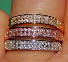 Sterling Band 925 with 18KT Rose White or Yellow Gold Plate Size 6 or 7 NEW