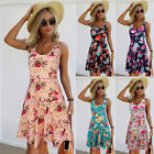 Women Summer Sleeveless Floral Evening Party Cocktail Beach Short Mini Dress