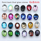50p color Rhinestone Faceted Point Foiled Back crystal Oval Nail Art jewel 6x8mm