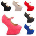 NEW LADIES WOMEN  MARY JANE HEEL LESS HIGH PLATFORM SHOE SIZE 2 - 7