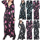 Women Ladies Floral Roses Summer Plunge V Neck Front Tie Knot Twisted Maxi Dress