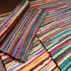 Recycled Fair Trade Rag Rug Hand Loomed Indian Bright Multi Colors Chindi Mats