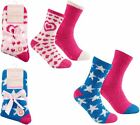 4 Pairs Mixed Womens Cosy Soft Fleece Lounge Bed Socks With Grip or Non Grip