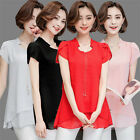 Plus Size Women Short Sleeve Chiffon Shirts V-neck Mid Tops Casual Loose Blouses