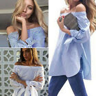 Fashion Women Ladies Summer Loose Top Off the Shoulder Blouse Casual Tops Shirts