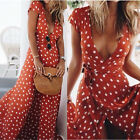 Ladies Women Long Boho Maxi Chiffon Dresses V Neck Polka Dot Summer Beach Dress